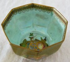 Wedgwood Lustre Gold Hexagonal Bowl with Fruit Designs Z5458