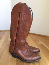 Vintage Heavy Duty Tall Olathe Brown Leather buckaroo cowboy boots 7.5 B