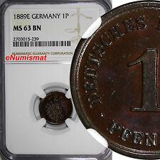 Germany - Empire Wilhelm I Copper 1889-E 1 Pfennig NGC MS63 BN TOP GRADED  KM#1