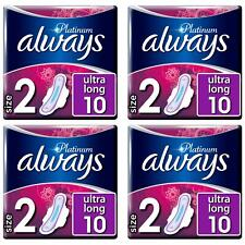 Always Platinum Pads Ultra Long Sanitary Towels with Wings - Size 2 - 40 Pack