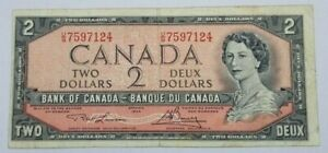 CANADA $2 BANKNOTE FROM 1954 CIRCULATED NO RESERVE