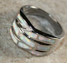 SILVER Elegant White Fire Opal Big Ring Size 9 WR40305