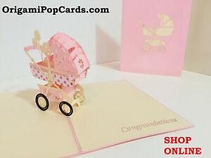 ORIGAMI POP CARDS Baby Pram Pink 3D Pop Up Greetig Card Baby Shower Blank