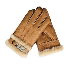 Men's Winter Warm Fur Wool Sheepskin Gloves Outdoor Leather Full Finger Mittens