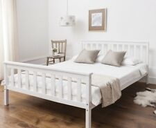 Double Bed in White Wooden Frame 4'6 Dorset
