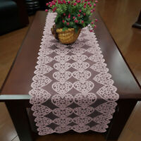 Pink Lace Table Runner Cloth Mats Doilies Wedding Party Valentine's Day Decor
