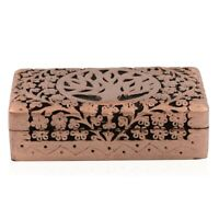 Matte Copper Finished Hand Carved Mango Wooden Jewelry Organizer Box Storage