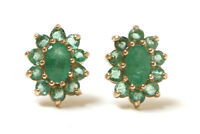 9ct Gold Emerald Cluster Oval stud earrings Made in UK Gift Boxed Christmas Gift