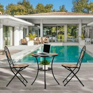 Mosaic Patio Table Folding Chairs Bistro Set Outdoor Garden Patio Porch Balcony