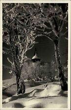Davos Graubünden Schweiz s/w AK 1931 gelaufen Frauenkirchli im Rauhreifschmuck