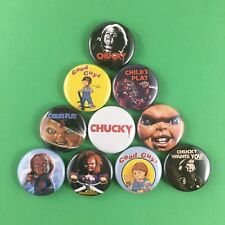 "Chucky 1"" Button Pin Set (10 pins) Child's Play Horror Doll Tom Holland action"