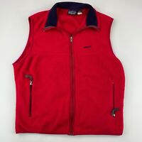 Patagonia Synchilla Men's Fleece Vest L Red Full Zip Vintage Made In USA