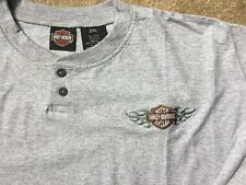 Harley Davidson Bar and Shield Gray long sleeve Henley Shirt Nwt Men's XXL