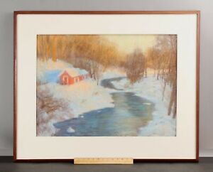 Large ROBERT LONGLEY New England Winter Landscape Pastel Drawing Cape Cod Artist