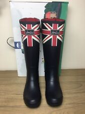BNWT Joules Wellies Adjustable Back Gusset Size 7 Navy Union Jack Women's