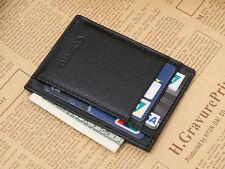 Black Mens Faux Leather Slim Money Clip Credit Card Holder ID business Wallet
