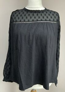FatFace Ladies Charlotte Floral Top Blouse In Black Size 18 BNWT