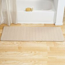 "Lavish Home Memory Foam Striped Extra Long Bath Mat, 24 by 60"", Ivory - New Open"