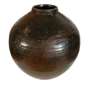 LARGE OLD ANTIQUE MARTABAN OVOID POTTERY STORAGE JAR SOUTHEAST ASIAN OR CHINESE