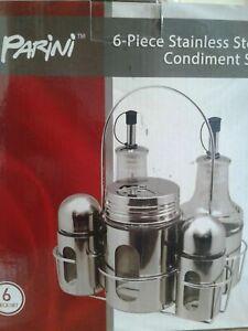 ************** NEW PARINI 6 PIECE STAINLESS STEEL GLASS CONDIMENT SET SEALED BOX
