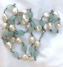 AUTHENTIC AQUAMARINE & BAROQUE PEARL Bead Sterling Silver Necklace 28""