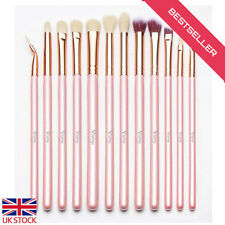 Qivange Eye Brushes Set Makeup Brush Kit with Pouch (12pcs Pink with Rose Gold)
