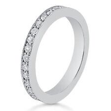 Diamond Eternity Women's Wedding Band 14k White Gold Round Cut B9
