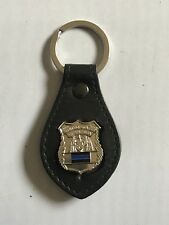 Police Officer  Blue Line  Mini Shield    Leather Key Chain Family Member