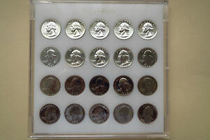 """1956-1976   20-COIN  SILVER  ALL """"PROOFS""""  WASHINGTON QUARTERS SET, Uncirculated"""