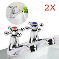 2X Taps Twin Traditional Bath Bathroom Basin Sink Chrome Hot and Cold Tap