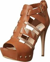 Guess Women's Oresty Leather Platform High Heels Shoes 6 M Brown