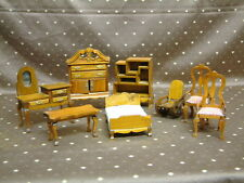 Puppenstuben Möbel Vertiko spiegelschrank holz Bücherboard Stühle Bett