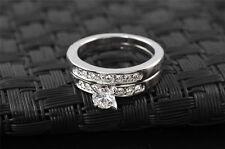 18K 2in1 White Gold Plated Swarovski ringset fashion wedding engagement 6,7,8