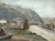 RIVER AT CHAMONIX FRANCE Watercolour Painting ELIZABETH CAMPBELL 1822 GRAND TOUR