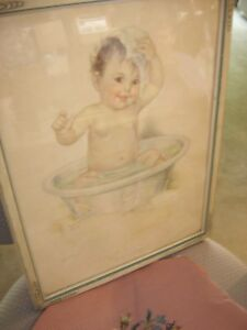 "Lithograph Print ""Smiling Through"" Bathing Baby by Charlotte Becker. 9209"