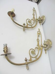 Antique Brass Gas Wall Lights Lamps Old Victorian Leaf Rococo Art Nouveau Flower