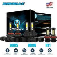 Combo 9005 + H11 + 9006 LED Headlight Bulbs Kit Hi Low Beam 6000K 4500W 670000LM
