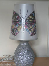Silver Glittered Butterfly Girls/Childrens Sparkly Bedroom/Bedside Table Lamp