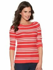 M&Co Ribbed Stripe Jumper Red Size UK 12 rrp £25 DH079 QQ 07
