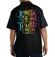 Dickies Mechanic Work Shirt Jesus Is The Way The Truth The Life Religion