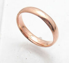 4mm All Shiny Comfort Silk Fit Wedding Band Ring Real 14K Rose Gold Sz 5 ~ 11
