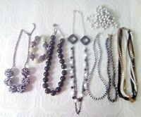 FORNASH Extra Large round black bead necklace + bracelet, cluster chains + more