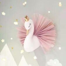Cute 3D Golden Crown Swan Wall Art Hanging Girl Swan Doll Stuffed Toy Wall Decor