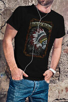 LYNYRD SKYNYRD MEN BLACK T-SHIRT ROCK BAND TEE SHIRT INDIAN SKULL ZZ TOP AC DC