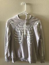 WILDFOX Bones Skeleton Hoodie Sweatshirt XS, Gray