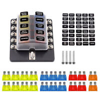 10-Way Blade Fuse Box Block Holder LED Indicator w/ Fuses for 12V 24V Car Marine