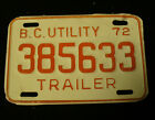 VINTAGE 1972 BRITISH COLUMBIA CANADA TRAILER EXPIRED SINGLE LICENSE PLATE 385633