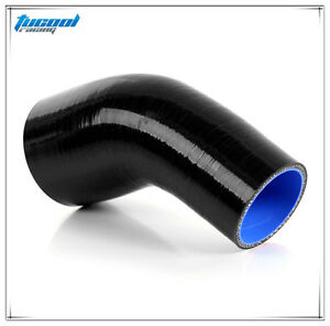 Black 45 Degree Silicone Reducer Elbow Hose Pipe Intercooler Pipe Air Water Hose