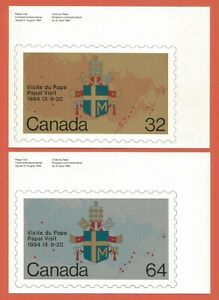 CANADA – PAPAL VISIT OF 1984 STAMP ISSUES – 2 COMMEMORATIVE POSTCARDS