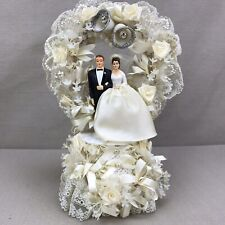 Large Wedding Cake Topper Vintage 1950s Lace Ribbon Bells Beads